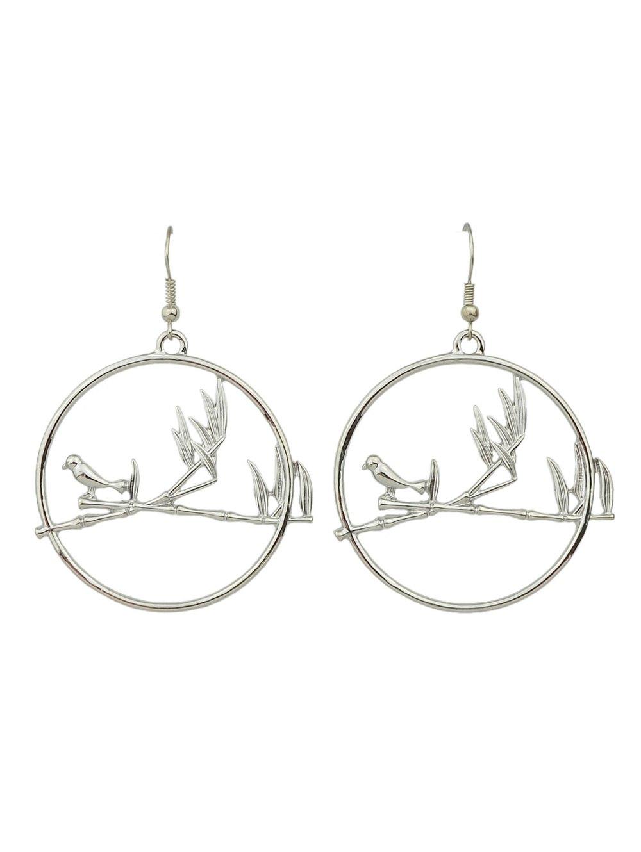 Drop Hoop Bird Earrings