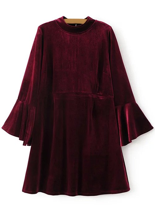 Cut Out Velvet Bell Sleeve Dress