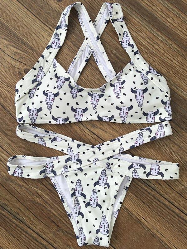 Printed Bandage Bikini Set