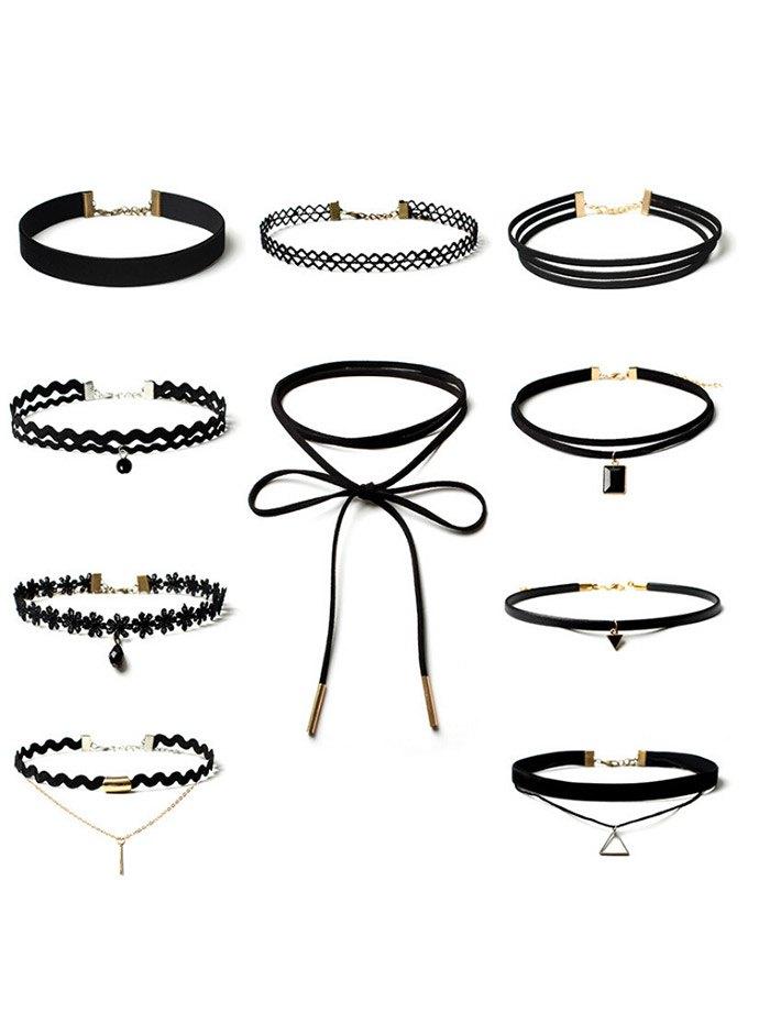 Flower Triangle Bar Choker Necklace Set
