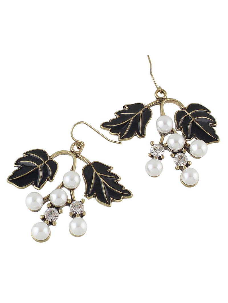 Artificial Pearl Rhinestone Tree Leaves Earrings
