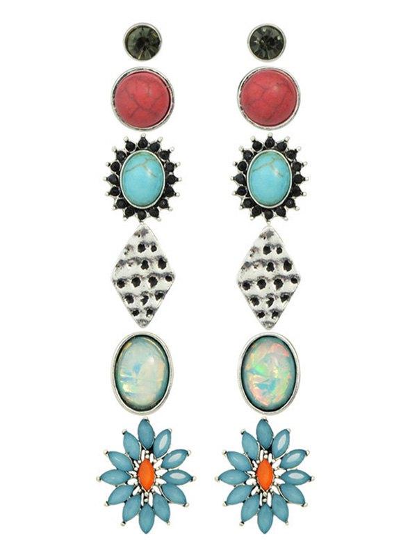 Artificial Gem Rhinestone Turquoise Earring Set