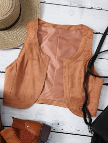 Cropped Waistcoat - Brown