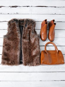 Faux Fur Open Front Waistcoat - Taupe