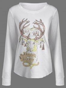 Christmas Reindeer Print Sweatshirt