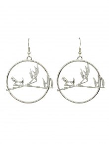 Drop Hoop Bird Earrings