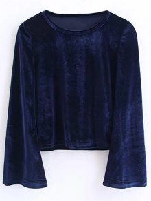 Buy Flared Sleeve Velvet Crop Top M CADETBLUE