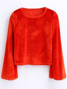 Buy Flared Sleeve Velvet Crop Top M JACINTH