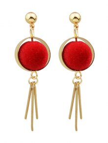 Ball Circle Bar Earrings - Red