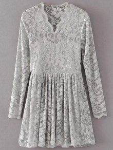 Lace V Neck Dress