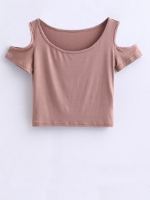 Cold Shoulder Crop Tee - Pale Pinkish Grey M