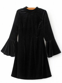 Cut Out Bell Sleeve Velvet Dress