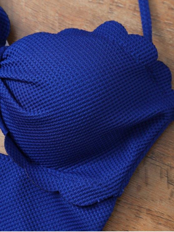 One Piece Bow Halter Swimsuit - SAPPHIRE BLUE XL Mobile