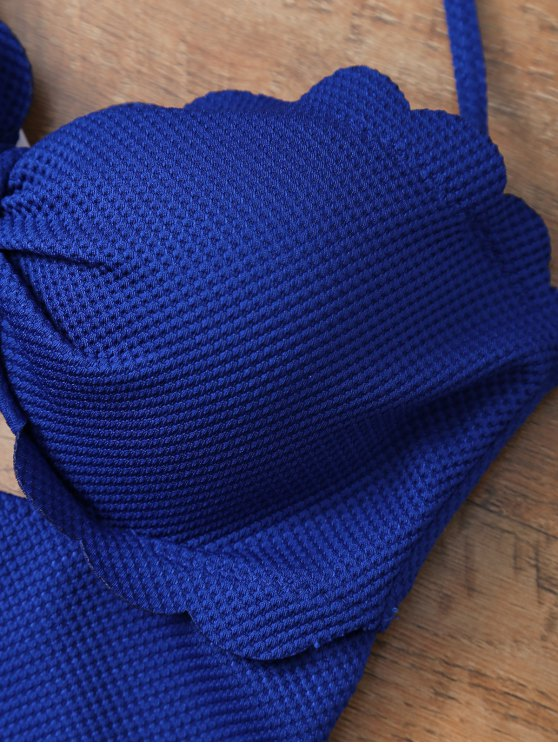 One Piece Bow Halter Swimsuit - SAPPHIRE BLUE L Mobile