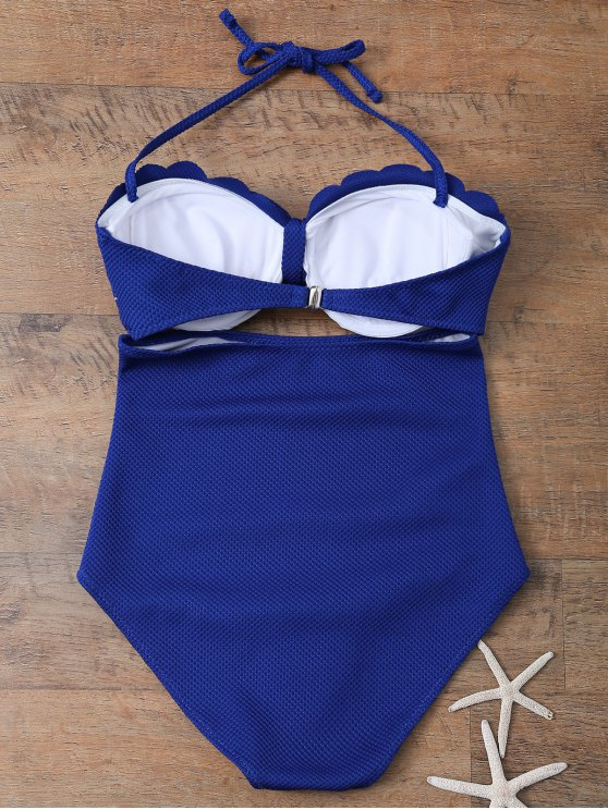 One Piece Bow Halter Swimsuit - SAPPHIRE BLUE M Mobile