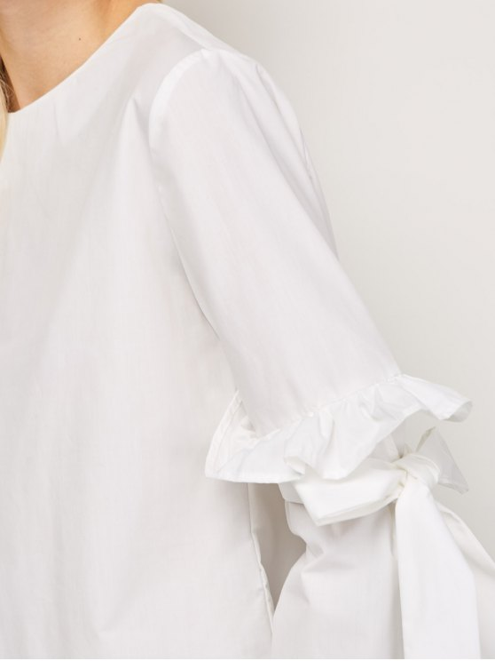 Oversized Flare Sleeve Flounced Blouse - WHITE S Mobile