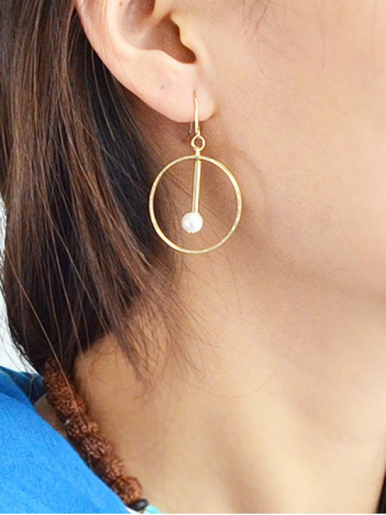 Faux Pearl Circle Drop Earrings - GOLDEN  Mobile