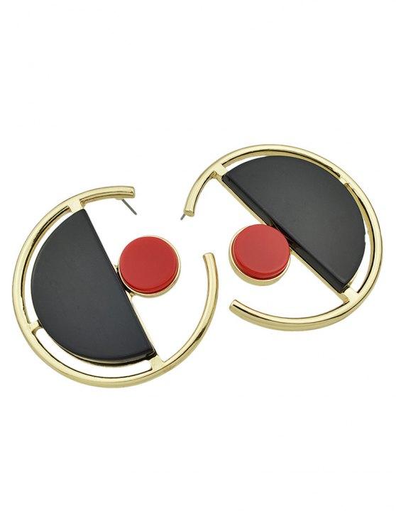 Geometric Vintage Round Earrings - GOLDEN  Mobile