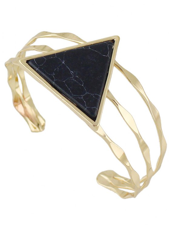 Faux Gem Triangle Cuff Bracelet - BLACK  Mobile