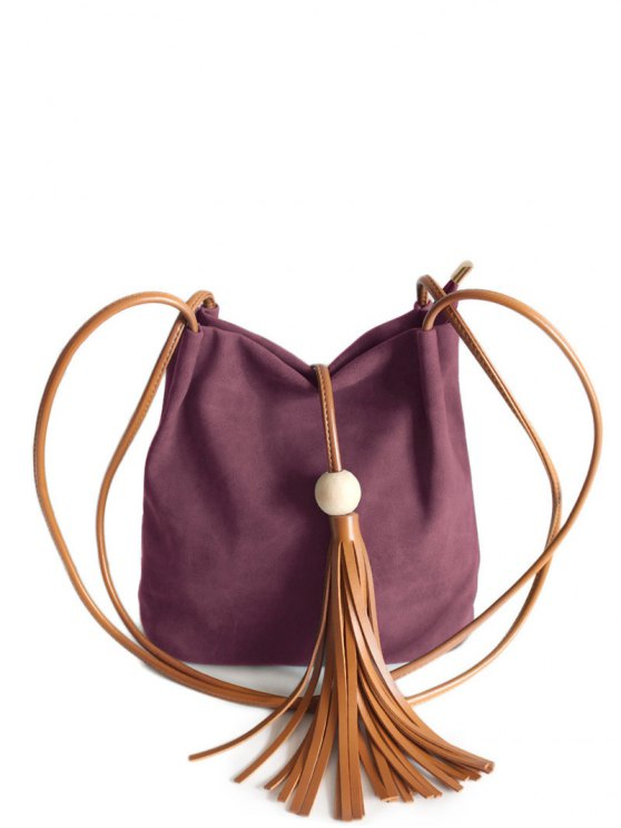 Tassel Wood Bead Shoulder Bag - PURPLISH RED  Mobile