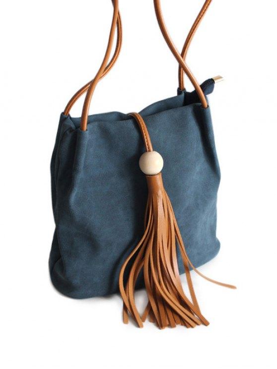 Tassel Wood Bead Shoulder Bag - BLUE  Mobile