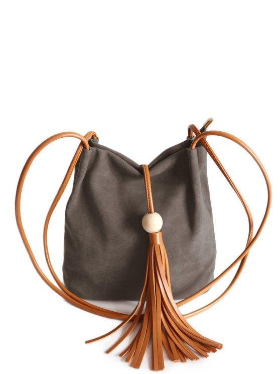 Tassel Wood Bead Shoulder Bag - COFFEE  Mobile