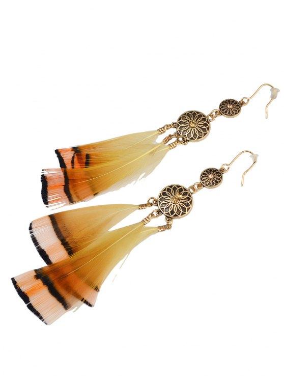 Rhinestone Flower Feather Bohemian Drop Earrings - GOLDEN  Mobile