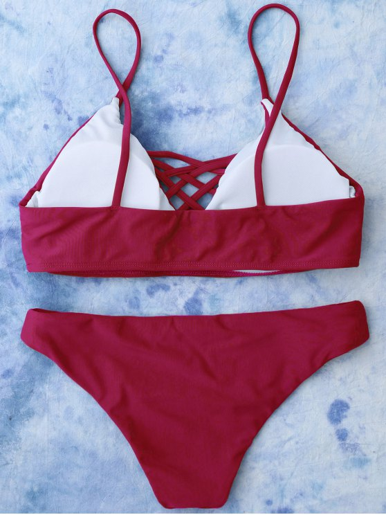 Lace Up Bikini Top and Bottoms - RED L Mobile