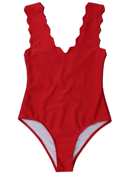 V Neck Scalloped One Piece Swimwear - DEEP RED M Mobile