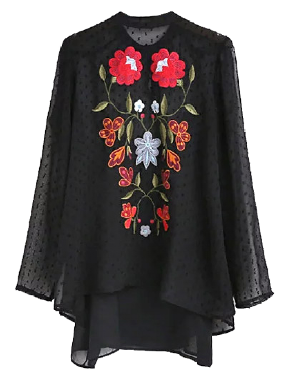 shop Choker Embroidered Sheer Blouse and Tank Top - BLACK L