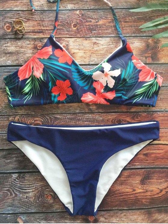 Halter follaje tropical Imprimir Bikini - Azul Purpúreo M