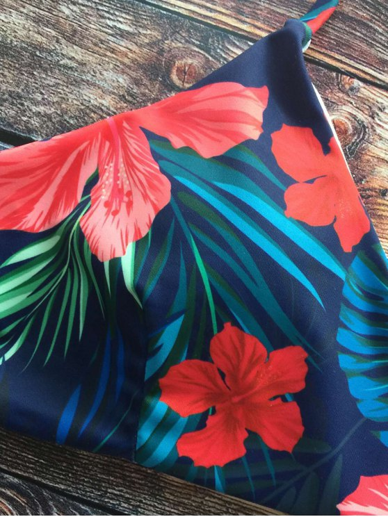 Halter Tropical Foliage Print Bikini - PURPLISH BLUE S Mobile