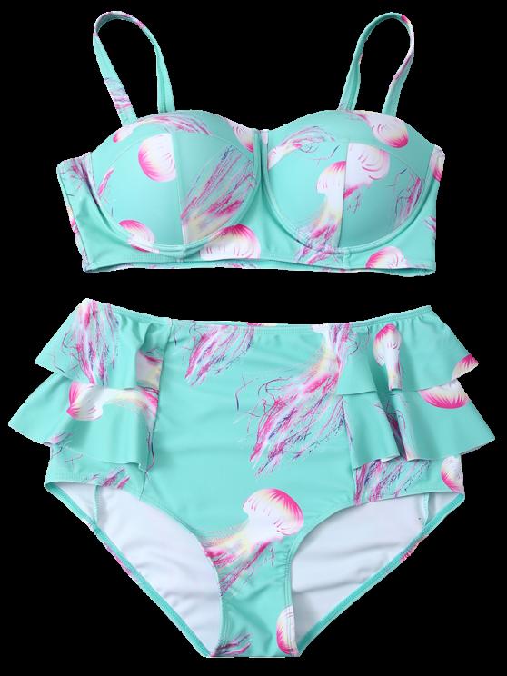 Push Up Printed Flounced Bikini Set - LIGHT BLUE XL Mobile