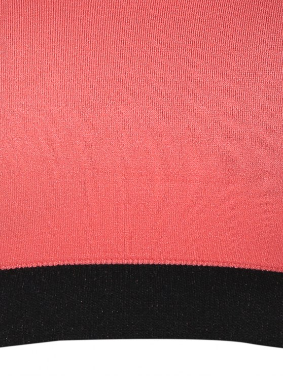 Seamless Cotton Pullover Sports Bra - BLACK AND PINK L Mobile