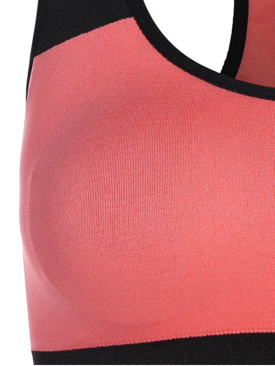 Seamless Cotton Pullover Sports Bra - BLACK AND PINK M Mobile