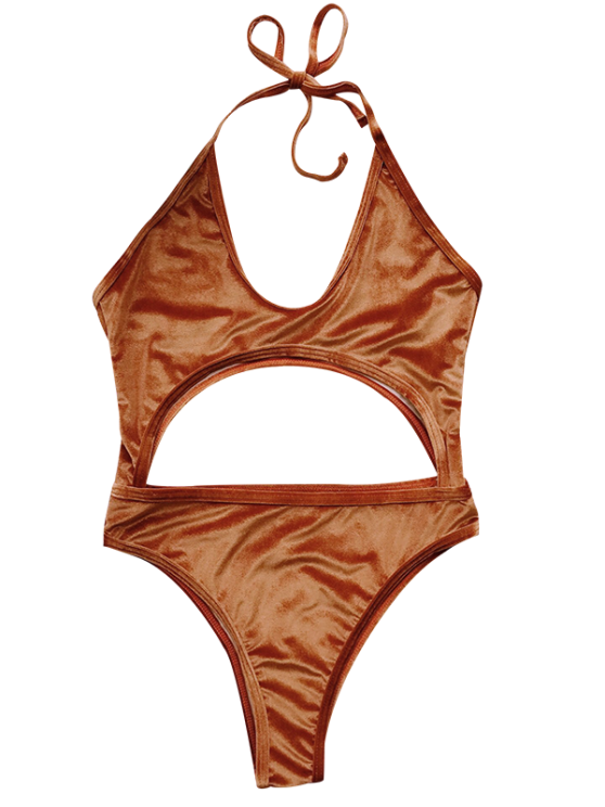 Cut Out Velvet One-Piece Swimwear - GOLD BROWN M Mobile