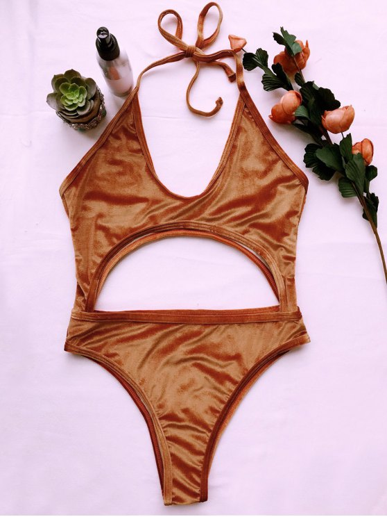 latest Cut Out Velvet One-Piece Swimwear - GOLD BROWN S