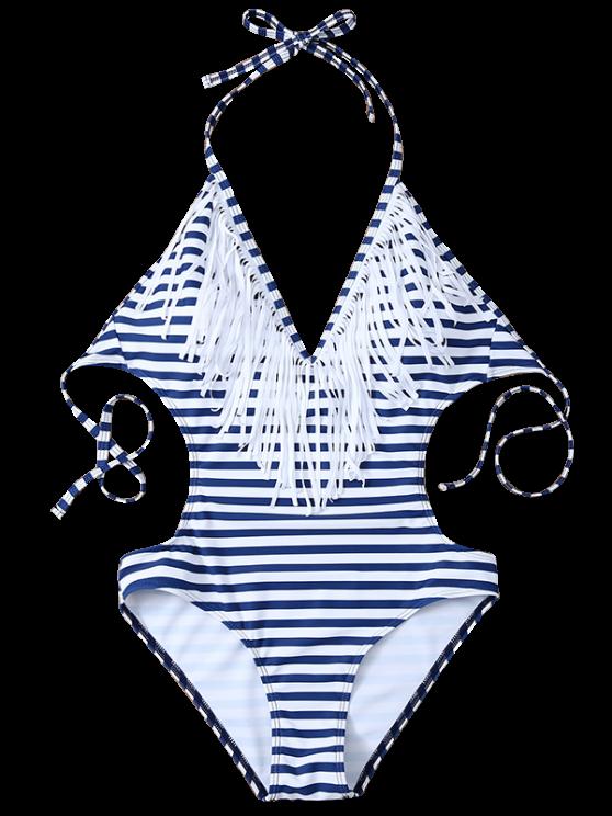 Striped High Cut Tassels One-Piece Swimwear - BLUE AND WHITE XL Mobile