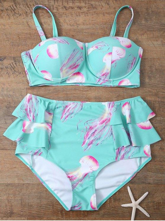 trendy Push Up Printed Flounced Bikini Set - LIGHT BLUE 3XL