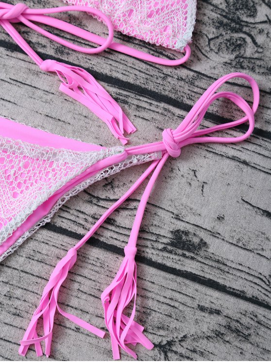 Tassel String Lace Thong Bikini - PINK M Mobile