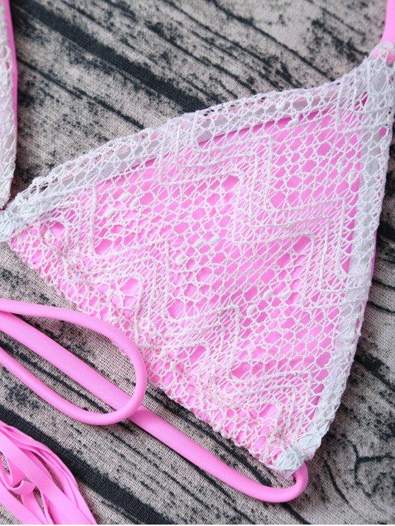 Tassel String Lace Thong Bikini - PINK L Mobile