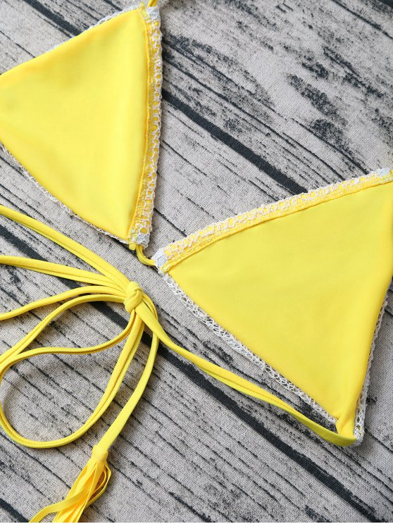 Tassel String Lace Thong Bikini - YELLOW L Mobile
