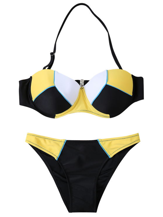 Color Block Halter Underwire Bikini Set - YELLOW AND BLACK S Mobile