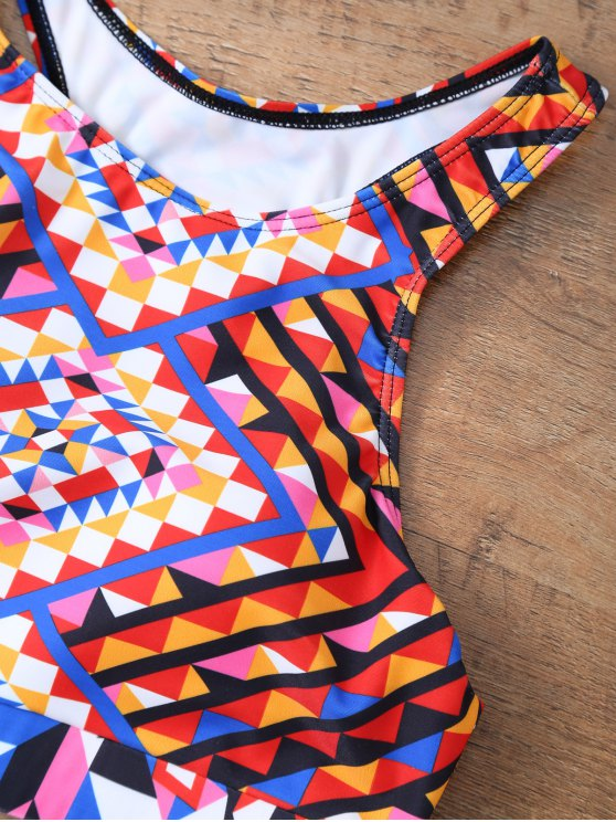 Geometric Ethnic Style Bikini Set - COLORMIX L Mobile