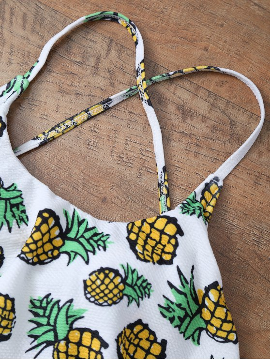 Pineapple Print Frilly Cute One Piece Bathing Suit - WHITE M Mobile