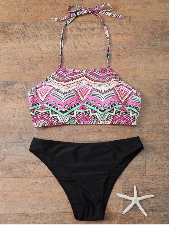 Halter Bikini Set With Diamond Print - BLACK M Mobile