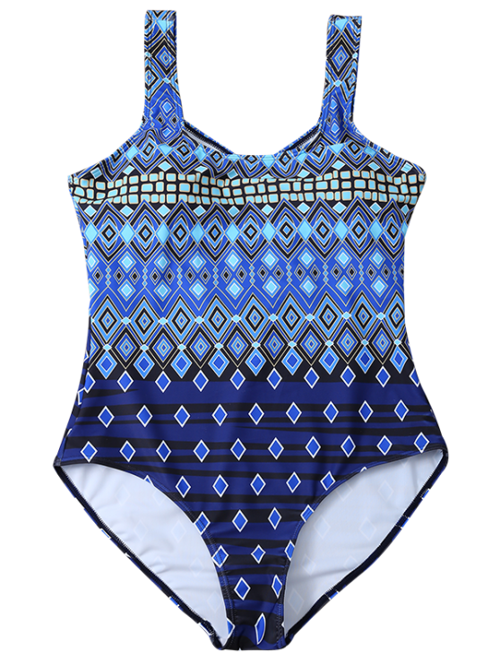 Plus Size Crosscriss Printed One-Piece Swimwear - BLUE 2XL Mobile