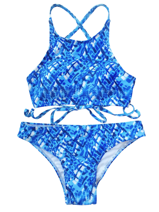 Crisscross Back High Neck Printed Bikini - BLUE AND WHITE M Mobile
