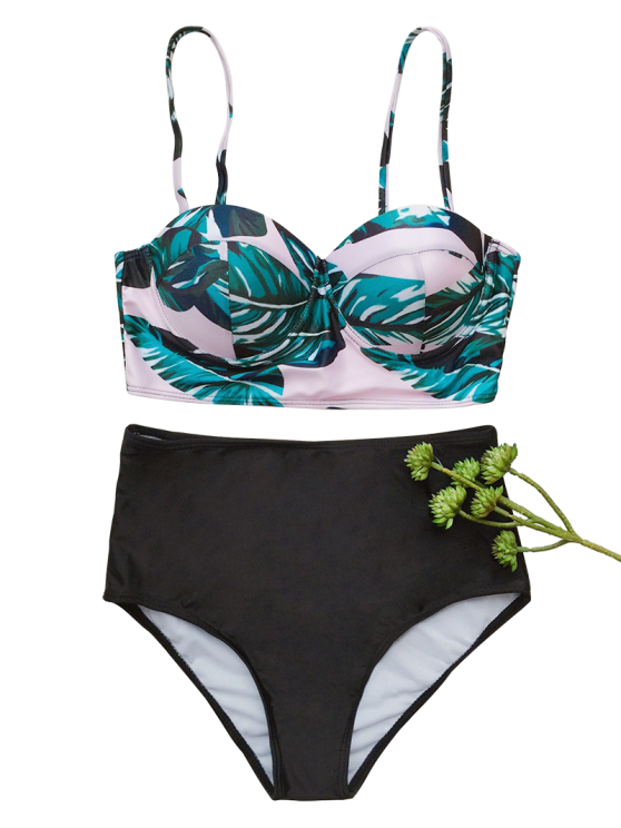 Push Up Tropical Print Underwire Bikini - BLACK S Mobile