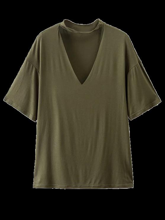 chic Choker Drop Shoulder T-Shirt - GREYISH GREEN S